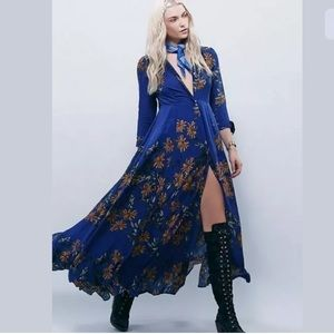 Free People After The Storm Maxi Shirt Dress Blue